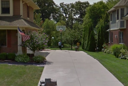 Basketball hoop was eventually succesfully installed after the driveway repair in South Lyon was finished